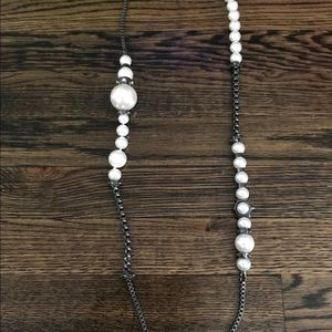 """Givenchy Pearl Gunmetal 36"""" Long Strand Necklace"""